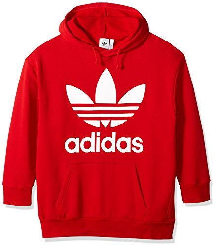 (adidas Originals Men's Trefoil Oversized Hoodie, Collegiate Red, S)