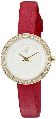 Obaku Women's Quartz Stainless Steel and Leather Dress Watch, Color:Red (Model: V146LEGIRR)