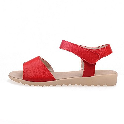 VogueZone009 Women's Hook-and-Loop Open Toe Low-Heels PU Solid Sandals Red 4O9TP