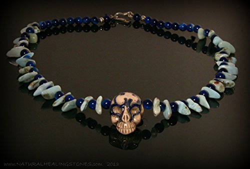 Blue skull necklace. 17 inches blue rock star. Handmade pottery skull from Peru with larimar and blue agate. Hill Tribe silver clasp. NATURAL HEALING STONES - jewelry for the meditative spirit.
