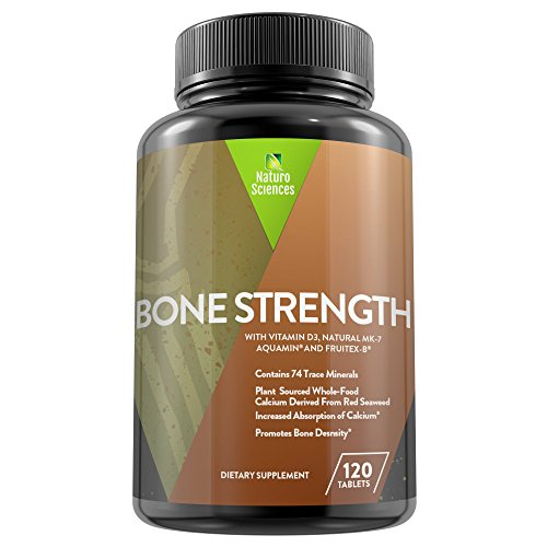 Vitamin D Bone Density - Calcium Bone Strength by Naturo Sciences, Contains Vitamin D3, FruiteX-B®, Aquamin®, MK-7, Bromelain, Magnesium and 74 Trace Minerals - Bone and Tissue Density, 120 Tablets
