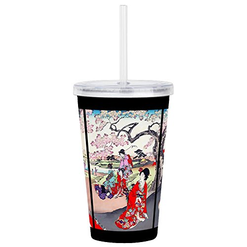 CafePress - Cherry Blossom Time Ja - Insulated Straw Cup, 20oz Acrylic Double-Wall -