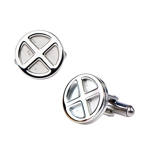 X-Men Logo Stainless Steel Cufflinks Stud Earrings, Silver, One Size ()