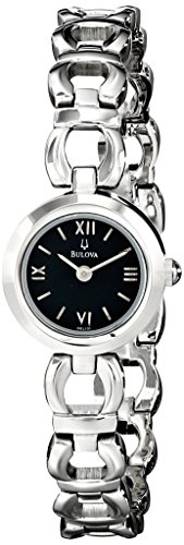 Bulova 96L101 Women's Silver Tone Stainless Steel Black Dial Bracelet (Bulova Ladies Black Dial Watch)