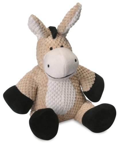 goDog Checkers Donkey With Chew Guard Technology Tough Plush Dog Toy, Tan, Large