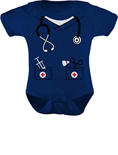 Tstars Infant Doctor, Nurse, Physician Halloween Easy Costume Cute Baby Bodysuit 6M Navy]()