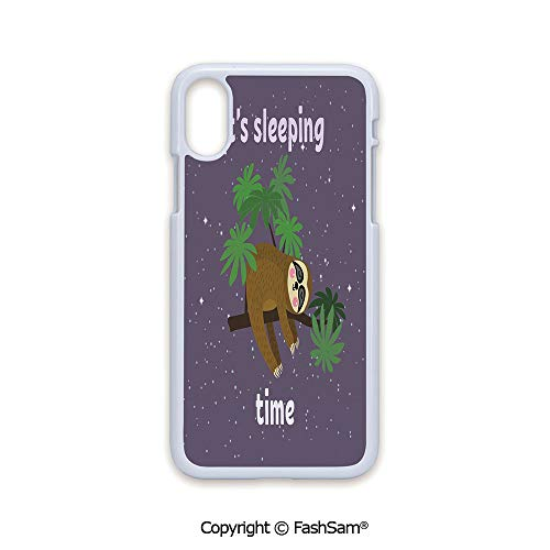 Fashion Printed Phone Case Compatible with iPhone X Black Edge Cute Cartoon Character Sleeping on Branch Jungle Animal in Night Sky Kids Theme 2D Print Hard Plastic Phone Case
