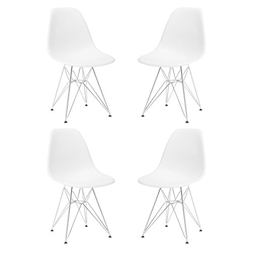 HollyHOME Eames Style Plastic Dining Side Chair with Chromed Wire Legs Mid Century Modern Chair, Set of 4