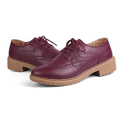 T-july Chaussures Wingtip Oxfords Femmes - Casual Slip-on Respirant Bout Rond Talon Bas Rétro Chaussures Bourgogne