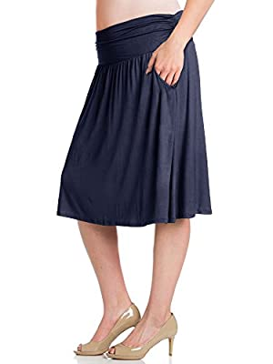 Bella Donna Womens Plus Size Shirring Midi Flare Skater Skirt with Pockets (XL-XXXL)