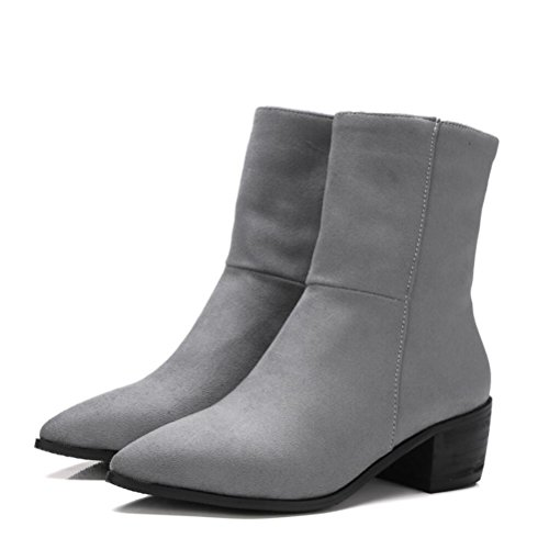 Ei&iLI Printemps des femmes / automne / hiver Bootie simili cuir extérieur / bureau & talon Chunky carrière / Casual , gray , 48
