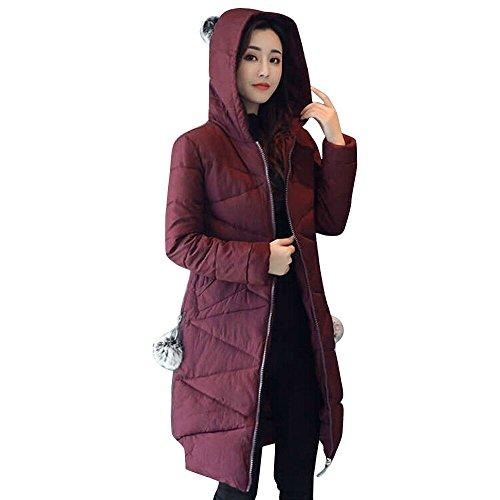 Bringbring Veste Longue Hiver Parka Femme Violet Outwear Chaud Capuche Mode Manteau pais Plus PS5AwqB4