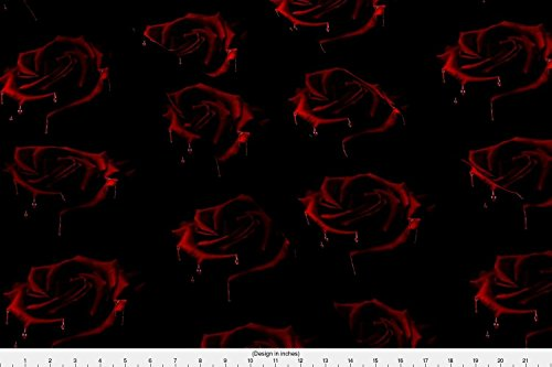 Spoonflower Blood Fabric Gothic Blood Rose by Bluevelvet Printed on Basic Cotton Ultra Fabric by The Yard