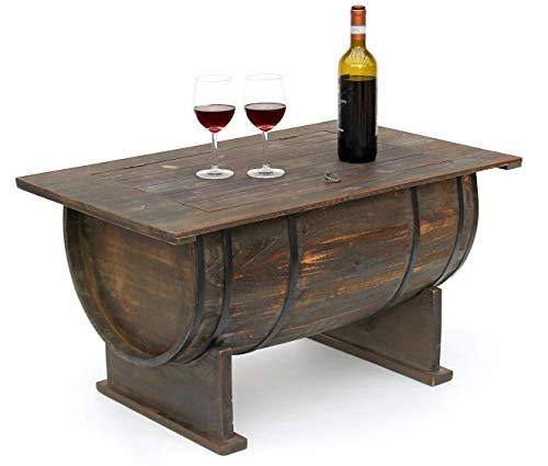 DanDiBo – Mesa auxiliar de madera de barril de vino – Estante para vino de 80cm