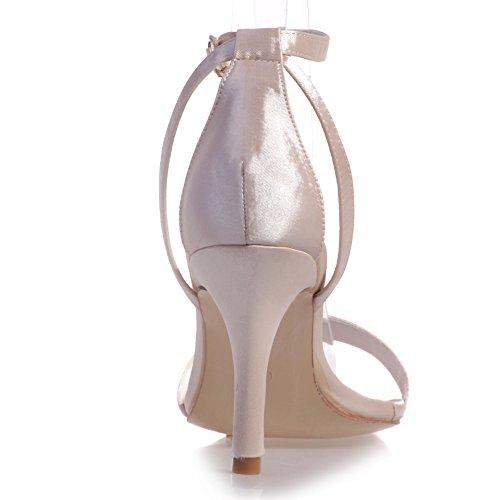 Loslandifen Womens Elegante Open Teen Satijnen Enkelbandje Sandalen Hoge Hakken Bruids Bruiloft Pumps Champagne-b