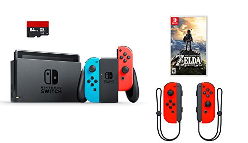 Nintendo Switch 4 items Bundle:Nintendo Switch 32GB Console Red and Blue Joy-con,64GB Micro SD Memory Card and an Extra Pair of Nintendo Joy-Con (L/R) Wireless Controllers Neon Red,The Legend of - Console 64 Nintendo Parts
