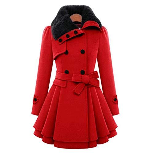 Casual Rojo Abrigo Doble Una Riklos Plisada Outwear Mujer Dobladillo Línea Capas Abrigos qpBxAZ5F