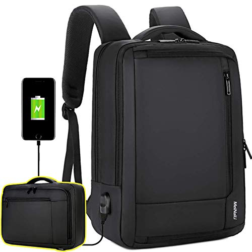 Travel Laptop Backpack, 15.6 Inch Briefcase Convertible Water Resistant Business Travel Rucksack with USB Charging Port College Backpack Computer Laptop Bag for Men