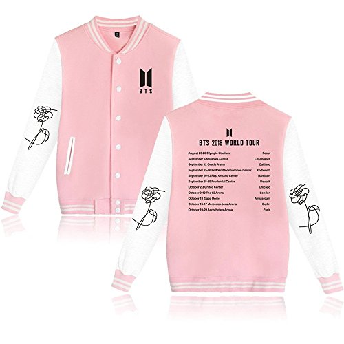 BTS Bangtan Boys New Album Love Yourself 结 'Answer' Baseball Uniform Sweater Jacket Coat (s, Pink BTS 2018) by Misisi
