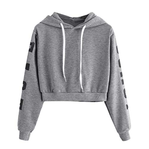 Pumsun ⭐️ Womens Autumn Long Sleeve Hoodie Sweatshirt Letters Hooded Pullover Tops Blouse (XL, Gray)