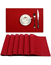 U'Artlines Frame Type Crossweave Woven Vinyl Non-Slip Insulation Placemat Washable Table Mats Set (6, DK Red)