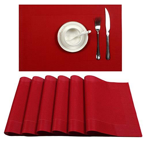 U'Artlines Placemat, Crossweave Woven Vinyl Non-Slip Insulation Placemat Washable Table Mats Set (6pcs placemats, DK Red)