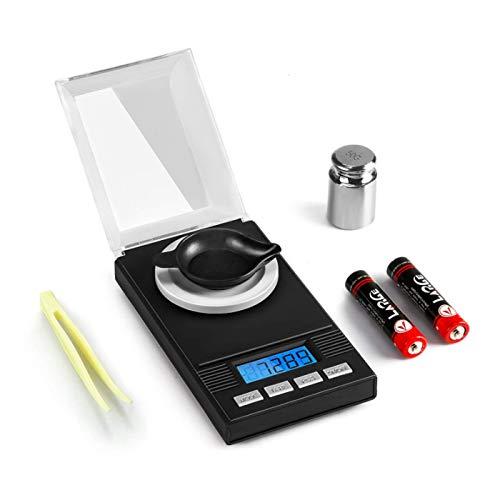 ... Miligramo Báscula de joyería 50 X 0.001g, Balanza electrónica de joyas, Balanza De Precision con Pinza, Peso de Calibración y Bandeja de Pesaje: ...