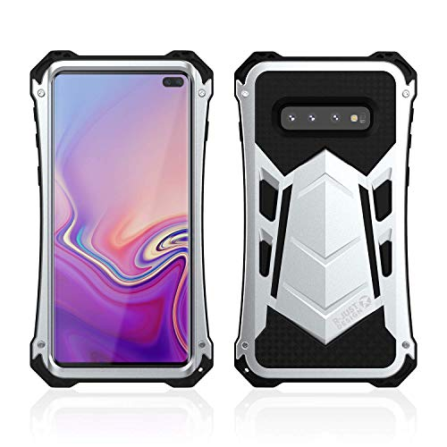 Galaxy S10 Plus Case, Armor Aluminum Alloy Metal Silicone Hybrid Military Heavy Duty Hard Defender Shockproof Dirtproof Case Protector Cover for Samsung Galaxy S10 Plus (Silver) (Aluminum Hybrid Silicone)