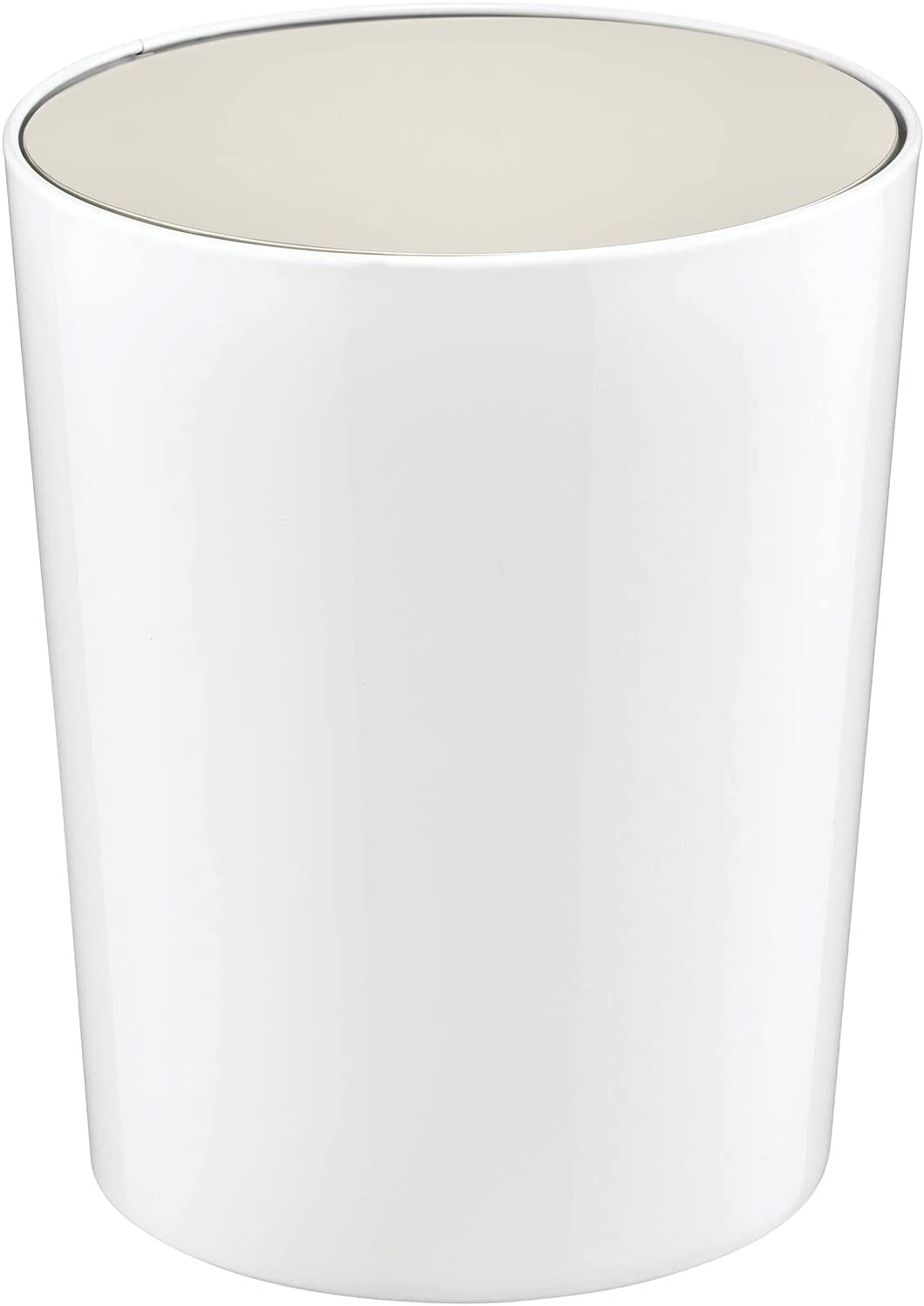 mDesign Round Swing Top Trash Can Wastebasket, Garbage Container Bin - for Bathroom, Powder Room, Bedroom, Kitchen, Craft Room, Office - White/Satin