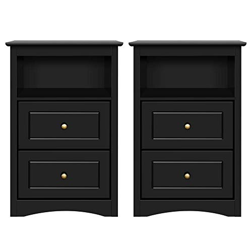 Yaheetech Tall Nightstand Bedside Table End Side Sofa Table with 2 Drawers and Open Shelf - Storage Cabinet Accent Table for Bedroom, Set of 2, Black (Bedroom Set Clearance)
