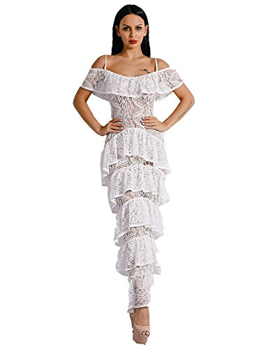 19ca35ae91 Miss ord Missord Women Strapy Sleeveless Lace Layered Ruffles Split Maxi  Dress