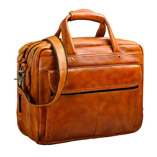 Men Oil Waxy Leather Antique Design Business Briefcase Laptop Document Case Attache Messenger Bag Tote Portfolio light brown (Vuitton For Men Briefcase Louis)