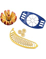 8 Blade Apple Slicer with Banana Slicer - Navy Blue and Yellow