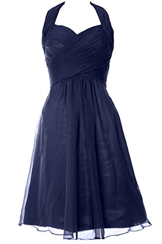MACloth Women Ruffled Chiffon Short Halter Bridesmaid Dress Wedding Party Gown (16w, Dark Navy)