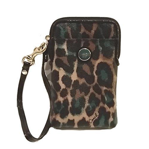 Coach Canvas Leather Ocelot Universal Phone Card Wristlet Holder Case