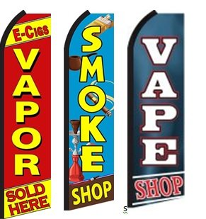 E-Cig Vapor Sold Here, Smoke Shop, Vape Shop King Swooper Feather Flag Sign- Pack of - Shops Kings