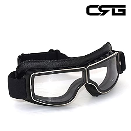 T13BYB Parent CRG Sports Vintage Aviator Pilot Style Motorcycle Cruiser Scooter Goggle T13 T13BCB Yellow Lens Black Padding