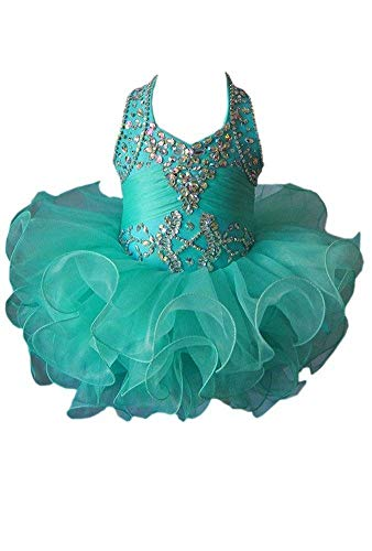 YIPEISHA Little Girls' Beading Halter Ball Gowns Infant Party Pageant Dresses 8 US Mint