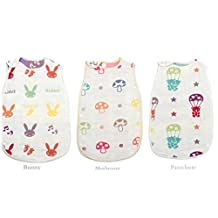3/Pack KaWaii Baby Reversible Muslin Cotton Sleep Sacks (Small Newborn - 6 months)