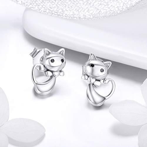 fe1c01595 Amazon.com: Bamoer Sterling Silver Women's Earring Meow Cat Earrings Stud  for Baby Girl: Jewelry