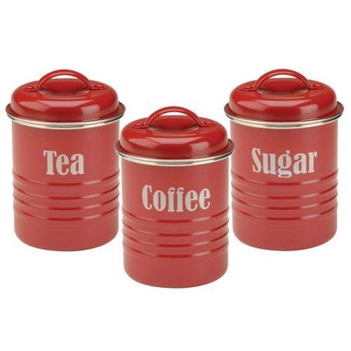 Typhoon Ensemble pour thé, café et sucre, de couleur rouge, style vintage 1401.43