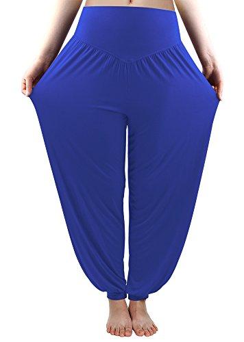 fitglam Women's Soft Modal Yoga Harem Pilates Pants Long Baggy Sports Workout Dancing Trousers Royal Blue