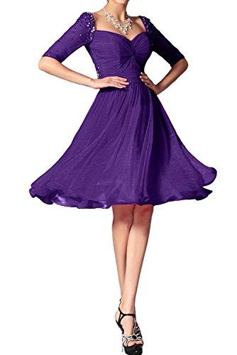 Mit Ivydressing Beliebt Aermeln Abendkleider Brautjungfernkleid Damen Violett Festkleid Kurz Chiffon qgaXfq