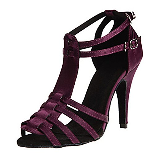 Minitoo T-strap Heel Stiletto Damen Sexy Satin Evening Wedding Shoes Tanzschuhe Latein Violett