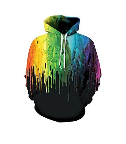 Price comparison product image Unisex Realistic 3d Print Galaxy Pullover Hoodie Hooded Sweatshirt (Small / Medium,  Black Paint)