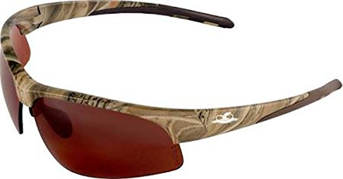 Professional Grade Products BH161012 Bullhead Safety Eye Protection Glasses Woodland Camo Frame/Temple, Polarized Precision Brown Lens, TPR Nose and Temple Sleeves