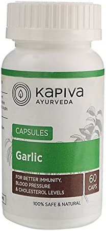 Kapiva Garlic Capsules, Veg Natural Supplement- Helps Maintain Cholesterol, Helps Regulate Blood Pressure and Builds Immune System, 500Mg- 60 Caps