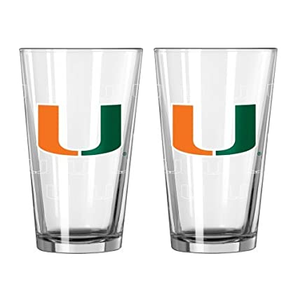 "NCAA Miami - ""Satin Etched"" Pint Glasses (2) 