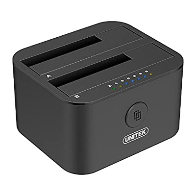Unitek USB 3.0 to SATA I/II/III Dual Bay External Hard Drive Docking Station for 2.5/3.5-Inch HDD SSD, Hard Drive Duplicator, Offline Clone Function, Support UASP and 2 x 10TB by UNITEK