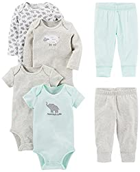 A mix-and-match 6-piece set keeps baby cozy featuring two short-sleeve bodysuits, two long-sleeve bodysuits, and two pants.